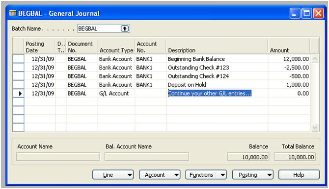 Beginning Entry for Bank Balance for Dynamics NAV
